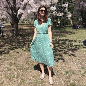 WAYF  green floral dress